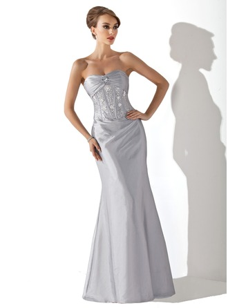 Trumpet/Mermaid Sweetheart Floor-Length Taffeta Mother of the Bride Dress With Ruffle Beading