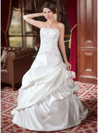 A-Line/Princess Sweetheart Court Train Satin Wedding Dress With Ruffle Beading Sequins