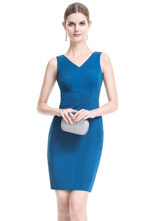 Sheath/Column V-neck Short/Mini Jersey Cocktail Dress