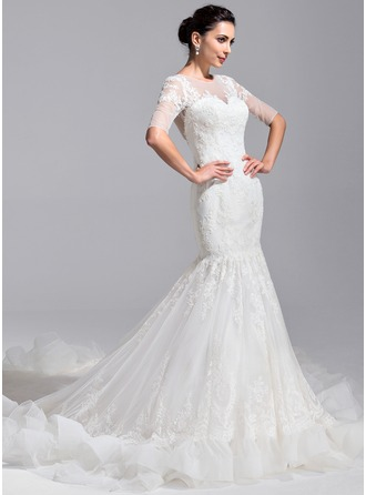 Trumpet/Mermaid Scoop Neck Royal Train Tulle Wedding Dress With Appliques Lace