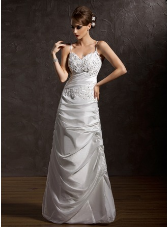 A-Line/Princess V-neck Floor-Length Taffeta Wedding Dress With Ruffle Lace