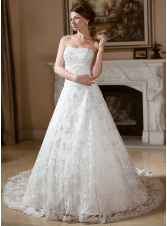 Ball-Gown Strapless Chapel Train Satin Lace Wedding Dress With Beading