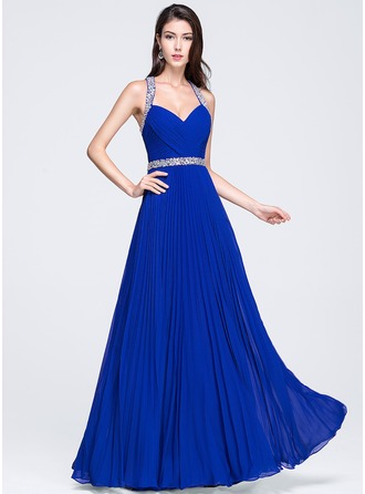 A-Line/Princess Sweetheart Floor-Length Chiffon Prom Dress With Ruffle Beading Sequins Pleated