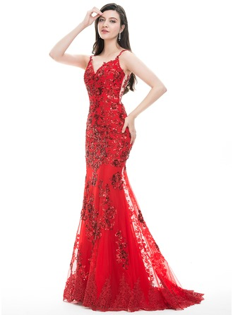 Trumpet/Mermaid Sweetheart Sweep Train Tulle Lace Prom Dresses With Sequins