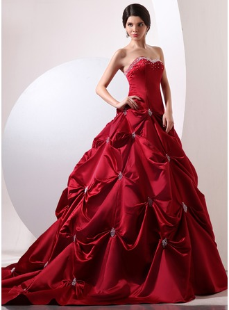 Ball-Gown Sweetheart Cathedral Train Satin Quinceanera Dress With Ruffle Beading