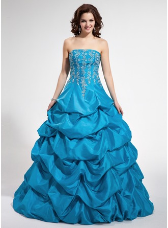 Ball-Gown Strapless Floor-Length Taffeta Quinceanera Dress With Embroidered Beading