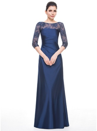 A-Line/Princess Scoop Neck Floor-Length Lace Jersey Mother of the Bride Dress With Ruffle Beading Sequins