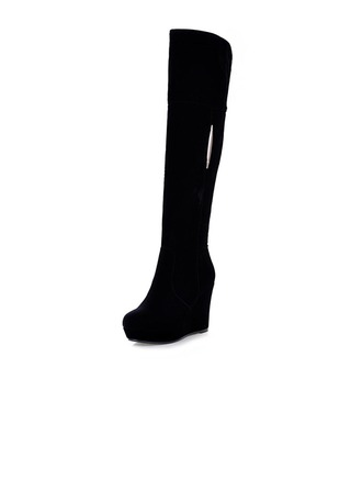 Suede Wedge Heel Knee High Boots With Sequin shoes