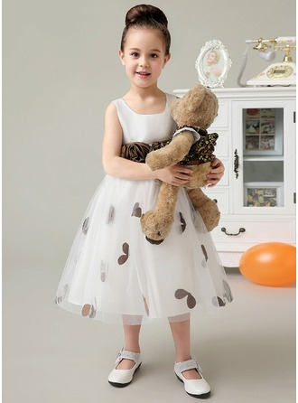 A-Line/Princess Square Neckline Tea-Length Satin Tulle Flower Girl Dress With Flower(s) Bow(s)