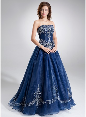 Ball-Gown Sweetheart Floor-Length Organza Quinceanera Dress With Embroidered Beading
