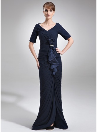 Trumpet/Mermaid Off-the-Shoulder Floor-Length Chiffon Charmeuse Mother of the Bride Dress With Beading Split Front Cascading Ruffles