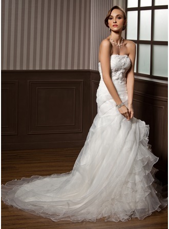 A-Line/Princess Sweetheart Chapel Train Satin Organza Wedding Dress With Lace Cascading Ruffles