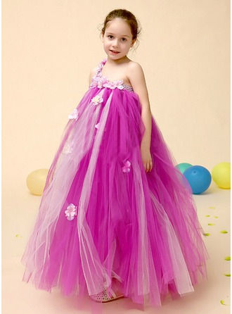 A-Line/Princess One-Shoulder Floor-Length Tulle Flower Girl Dress With Beading Flower(s)