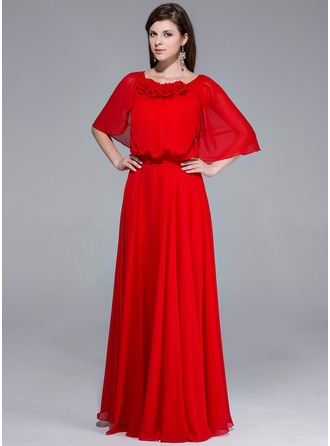 A-Line/Princess Scoop Neck Floor-Length Chiffon Evening Dress With Ruffle Flower(s)