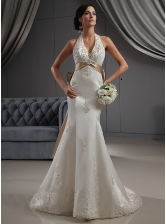 Trumpet/Mermaid Halter Chapel Train Satin Wedding Dress With Embroidered Sash Beading Appliques Lace Sequins Bow(s)
