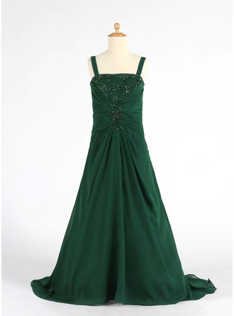 A-Line/Princess Square Neckline Sweep Train Chiffon Junior Bridesmaid Dress With Ruffle Beading