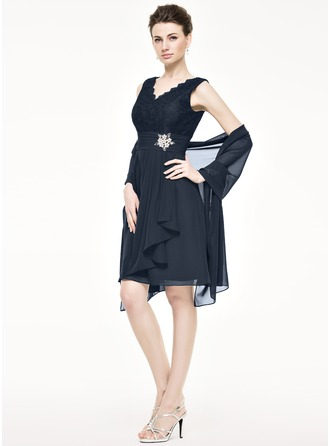 A-Line/Princess V-neck Knee-Length Chiffon Lace Mother of the Bride Dress With Beading Sequins Cascading Ruffles