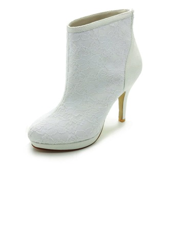 Women's Satin Cone Heel Boots Closed Toe Platform Pumps With Stitching Lace