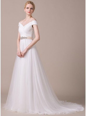 A-Line/Princess Off-the-Shoulder Court Train Tulle Wedding Dress With Ruffle Sash Beading Sequins