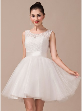 A-Line/Princess Scoop Neck Short/Mini Tulle Lace Wedding Dress