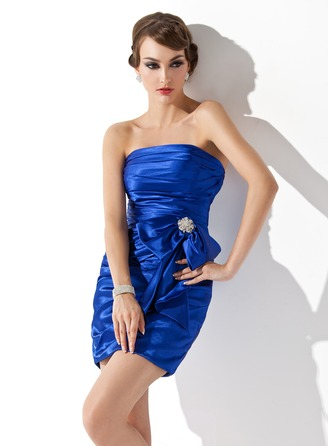 Sheath/Column Strapless Short/Mini Charmeuse Cocktail Dress With Ruffle Crystal Brooch Bow(s)