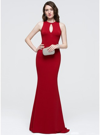 Sheath/Column Scoop Neck Sweep Train Satin Prom Dress