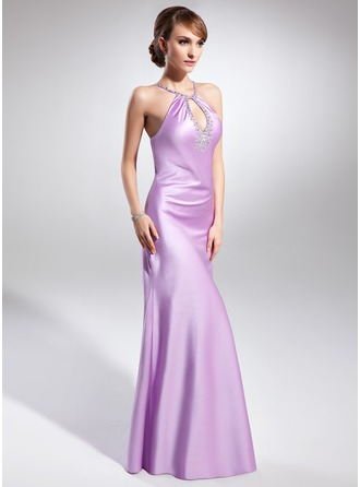 Sheath/Column Halter Floor-Length Satin Evening Dress With Beading