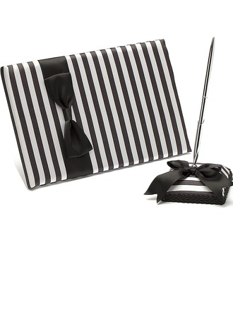 Classic Black & White Bow/Sash Guestbook & Pen Set