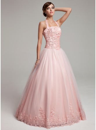 Ball-Gown Halter Floor-Length Tulle Quinceanera Dress With Ruffle Beading Appliques Lace