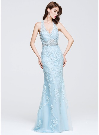 Trumpet/Mermaid V-neck Floor-Length Tulle Prom Dress With Beading Appliques Lace