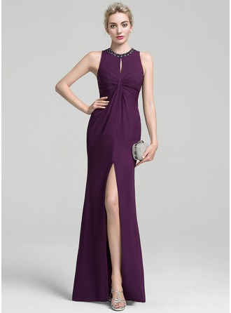 Trumpet/Mermaid Scoop Neck Floor-Length Chiffon Evening Dress With Ruffle Beading Split Front