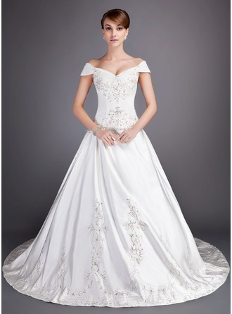 Ball-Gown Off-the-Shoulder Chapel Train Satin Tulle Wedding Dress With Embroidered Beading Sequins