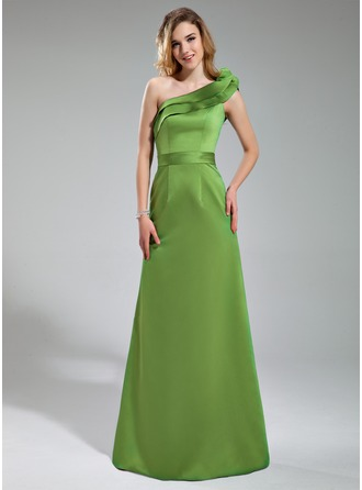 Sheath/Column One-Shoulder Floor-Length Satin Bridesmaid Dress With Cascading Ruffles