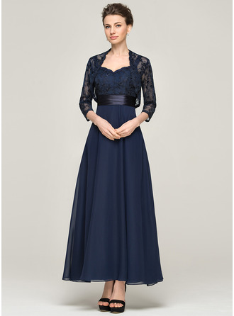 A-Line/Princess Sweetheart Ankle-Length Chiffon Charmeuse Lace Mother of the Bride Dress