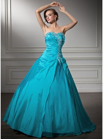 Ball-Gown Sweetheart Floor-Length Taffeta Organza Quinceanera Dress With Embroidered Ruffle Beading Sequins