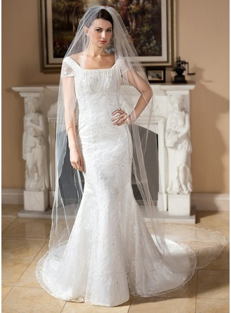 Trumpet/Mermaid Square Neckline Court Train Lace Wedding Dress With Beading Sequins