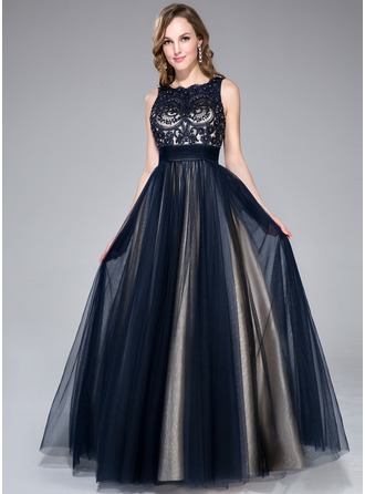 A-Line/Princess Scoop Neck Floor-Length Tulle Charmeuse Prom Dress With Beading Sequins Bow(s)