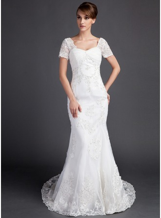 Trumpet/Mermaid Sweetheart Court Train Satin Organza Wedding Dress With Ruffle Beading Appliques Lace