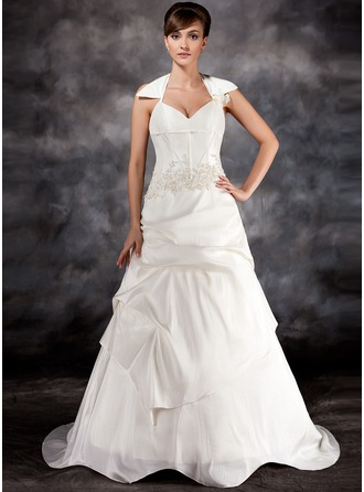 A-Line/Princess Halter Court Train Taffeta Wedding Dress With Ruffle Appliques Lace Flower(s)
