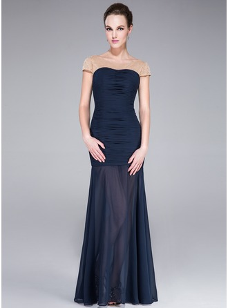 Trumpet/Mermaid Scalloped Neck Floor-Length Chiffon Tulle Evening Dress With Beading