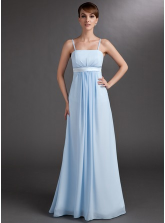 Empire Floor-Length Chiffon Charmeuse Chiffon Charmeuse Maternity Bridesmaid Dress With Ruffle