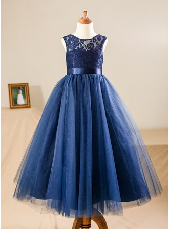 A-Line/Princess Floor-length Flower Girl Dress - Satin/Tulle/Lace Sleeveless Scoop Neck With Sash