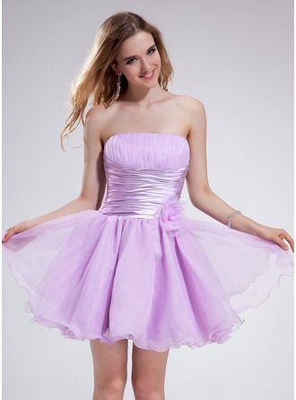 A-Line/Princess Strapless Short/Mini Organza Charmeuse Homecoming Dress With Ruffle Flower(s)