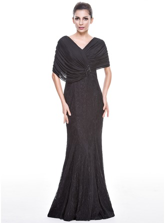 Trumpet/Mermaid V-neck Floor-Length Chiffon Lace Evening Dress With Beading Sequins