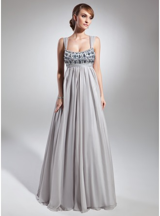 Empire Scoop Neck Floor-Length Chiffon Charmeuse Holiday Dress With Ruffle Beading