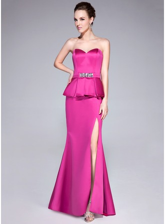 Trumpet/Mermaid Sweetheart Sweep Train Satin Evening Dress With Beading Split Front Cascading Ruffles