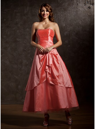 A-Line/Princess Sweetheart Ankle-Length Taffeta Tulle Quinceanera Dress With Beading Cascading Ruffles