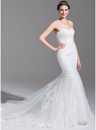 Trumpet/Mermaid Sweetheart Chapel Train Tulle Lace Wedding Dress