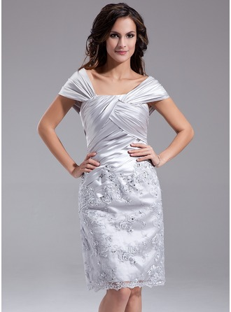 Sheath/Column Off-the-Shoulder Knee-Length Charmeuse Lace Mother of the Bride Dress With Ruffle Beading Sequins