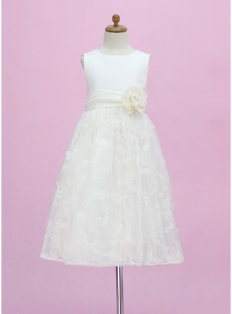 A-Line/Princess Scoop Neck Ankle-Length Lace Flower Girl Dress With Flower(s) Bow(s)